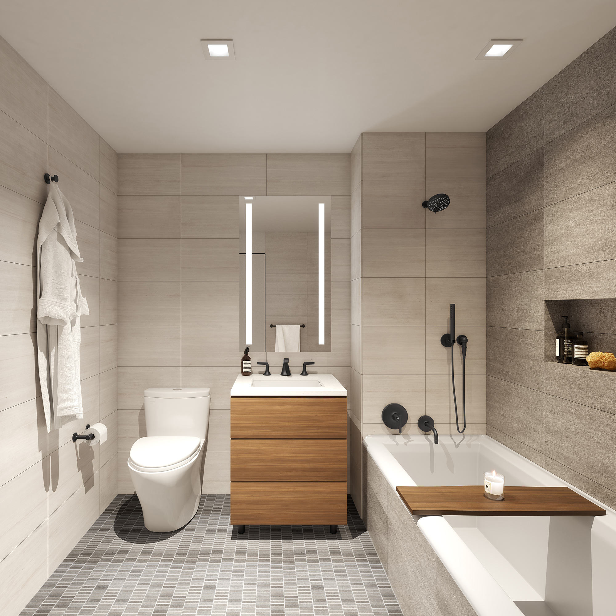 Secondary Bathroom with Matte Black Fixtures